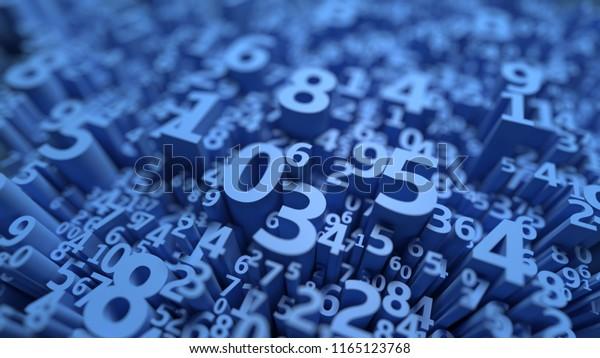 Resumen de los números 3D en segundo plano. Diseño de ciencias de la computación. Álgebra, matemáticas, símbolos escolares. Datos infinitos. Papel tapiz. Cálculo y estadísticas. Representación tridimensional. Color azul
