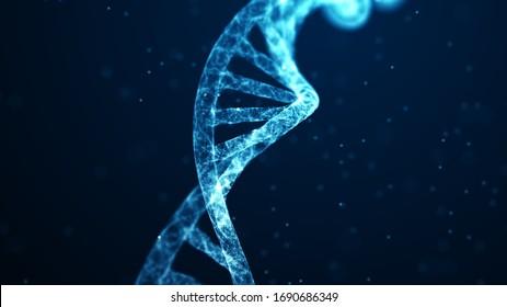 Abstraktes 3D-WLAN-DNA-Molekül helix Spirale auf Blau. Medizinische Wissenschaften, Gentechnologie, Chemie, Genzellkonzept. Medizinischer wissenschaftlicher Hintergrund.