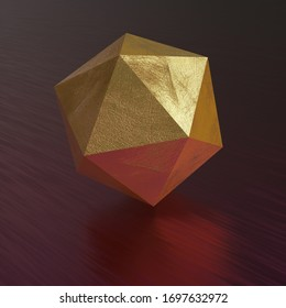 Abstract 3d render with geometric figure - Icosahedron.