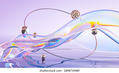 Abstract 3d render. Glass ribbon on water with geometric circle and spheres. Holographic shape in motion. Iridescent digital art for banner background, wallpaper. Transparent glossy design element.