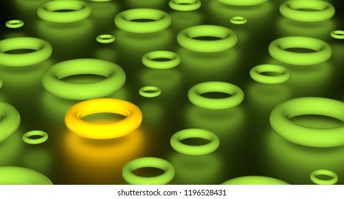 Abstract 3D render of group glowing green torus and one yellow. On black background