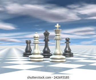 Abstract 3d render illustration with chess set, blue background with cloudy sky, shallow depth of field.