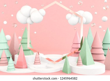 abstract 3D render illustration, christmas concept,  copy space for text, many trees on pink background
