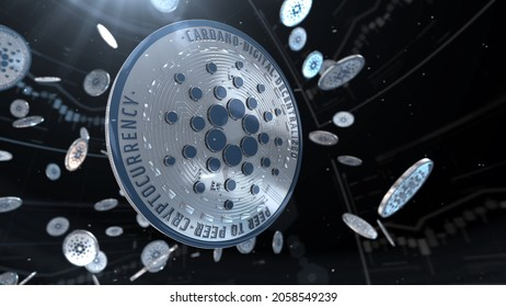 Abstract 3d rendered coin cardano