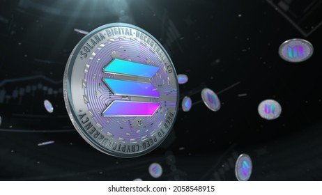 Abstract 3d rendered coin solana