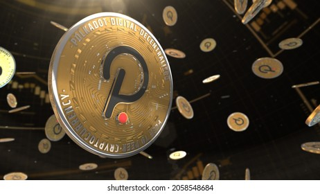 abstract 3d rendered polkadot crypto currency coin