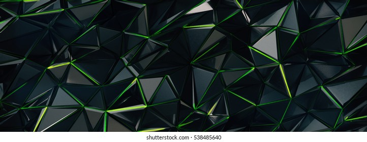 Abstract 3d rendering background. Polygonal form with green lines. Plexus technology structure. Triangular morphed geometry shape.