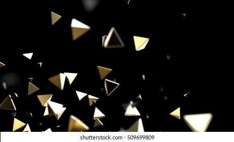 Abstract 3d rendering of chaotic gold and black shapes