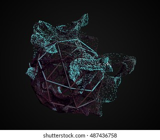 Abstract 3d rendering of chaotic particles. Flying cubes in empty space. Dynamic shape. Futuristic background. Poster design.