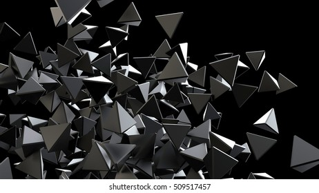 Abstract 3d rendering of chaotic structure. 3d rendering