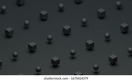 Abstract 3d rendering of cubes and spheres. Computer generated minimalistic background with geometric shapes. Modern design for cover, branding, banners, and posters