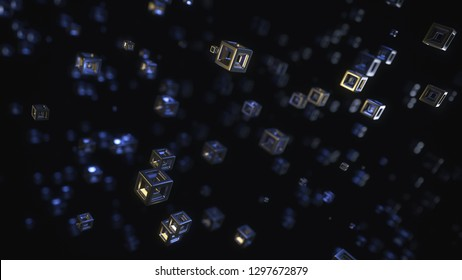 Abstract 3D Rendering Of Flying Cubes (8K Resolution)