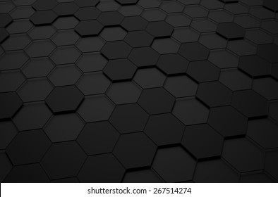 Abstract 3d rendering of futuristic surface with hexagons. Black sci-fi background.