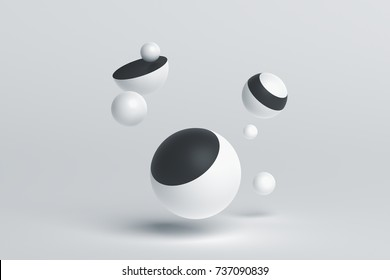 Abstract 3d rendering of geometric shapes. Composition with spheres. Modern background design for poster, cover, branding, banner, placard.