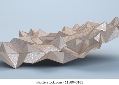 Abstract 3d rendering of geometric surface. Modern polygonal background design for poster, cover, branding, banner, placard.