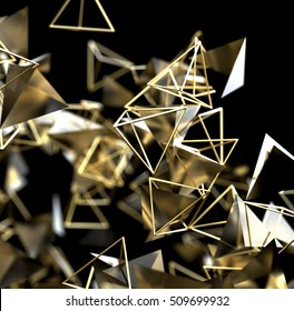 Abstract 3d rendering of gold. Futuristic background