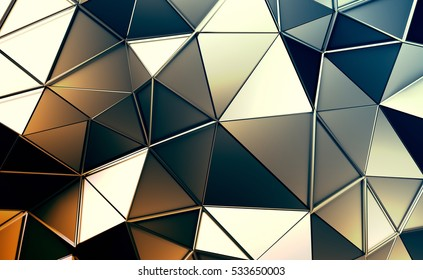 Abstract 3d rendering of triangulated surface. Contemporary background. Futuristic polygonal shape. Distorted low poly backdrop with sharp lines.