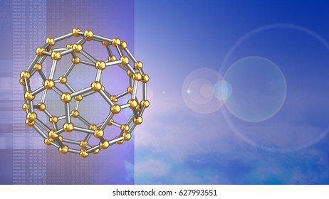 abstract 3d sky background with molecular shape and lens flare