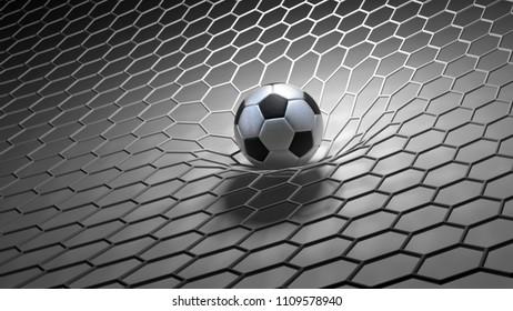 abstract 3d soccer ball in net