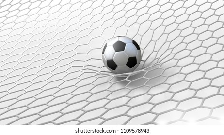 abstract 3d soccer ball in net