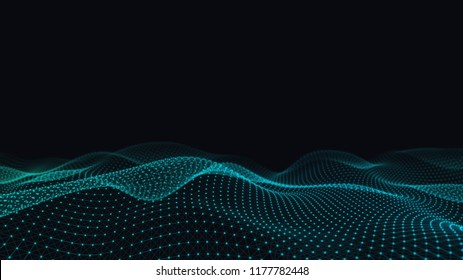 Abstract 3d technology and science neon visualization. Blockchain and cryptocurrency. Digital wallpaper. Business concept. Big data and artificial intelligence. Rendering computer virtual reality