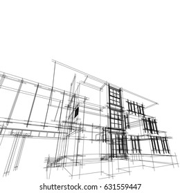 Abstract 3D wireframe architectural.