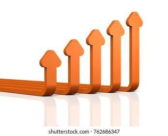 Abstract 3DCG illustration showing upward trend. 3D illustration