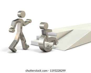 Abstract 3DCG representing a barrier-free society. 3D illustration. Symbols of a healthy person and a person who got on a wheelchair.