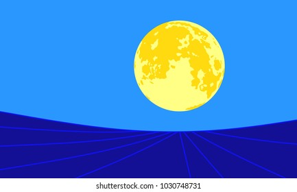 Abstract 3D-illustration with night landscape and full moon