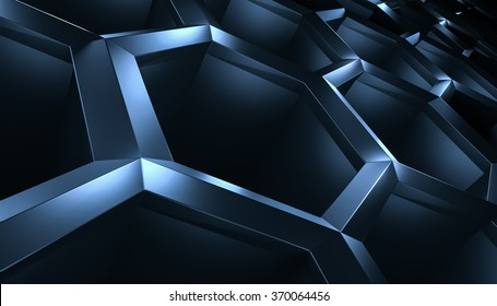 Abstract 3d-rendering background of futuristic surface with hexagons