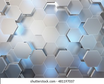 Abstract 3d-rendering background of futuristic surface with hexagons. 3D illustration