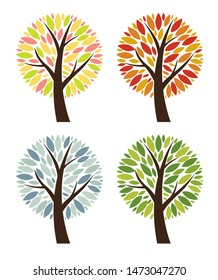 Abstract  4 Seasons  Tree Collection Set Illustration