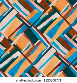 Abstract 70s stripes retro seamless watercolor pattern. Rhythmic contemporary geometrical print.
