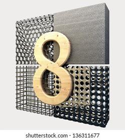 Abstract 8 design. Metallic and strong logo