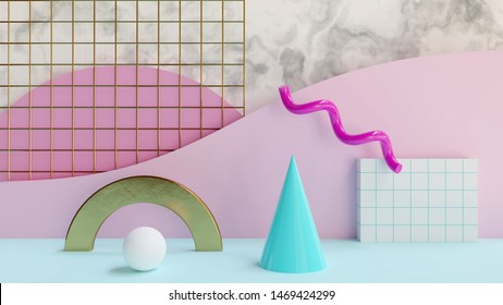 Abstract 80s pattern 3D render - 3D rendered illustration of a retro, 80s style pattern