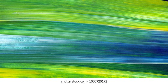 Abstract Acrylic background painting, texture. Green and blue painting brushstrokes of paint. Contemporary art.