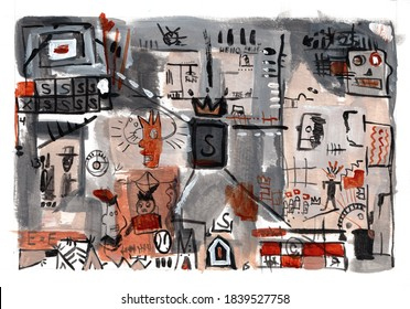 Abstract acrylic illustration with houses, windows, some people letters S,R,M, signs and crowns
