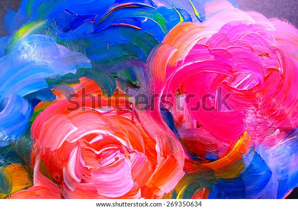 Abstract Acrylic Painting Flowers On Black Stock