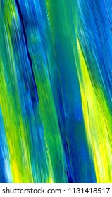 Abstract acrylic painting in mixed colours of green, blue, yellow. For use as background, texture, design element. Modern art with brush stroke texture