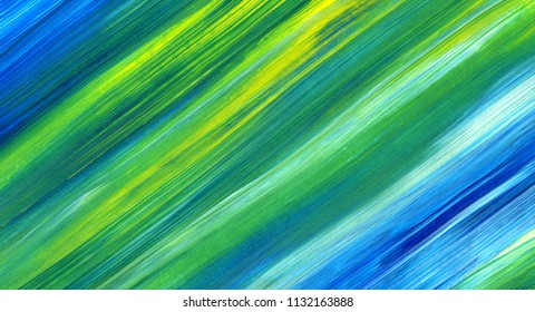 Abstract acrylic painting in mixed colours of green, blue, yellow. For use as background, texture, design element.