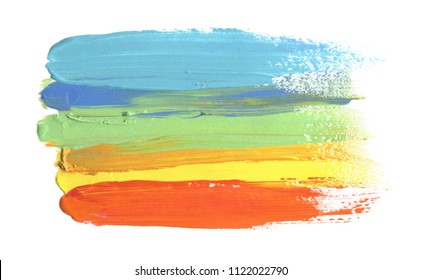 Abstract acrylic and watercolor brush stroke painting background. Isolated on white.
