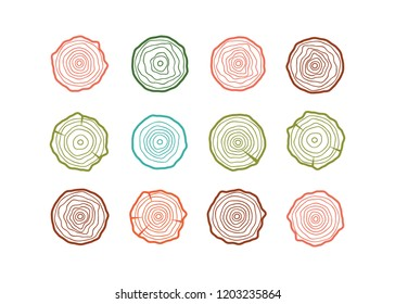 Abstract age annual circle tree background. Tree rings set