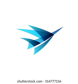 Abstract airplane stylized logo. Sign of a blue bird rise up.