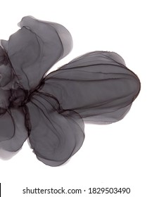 Abstract alcohol ink art drawing black flower isolated