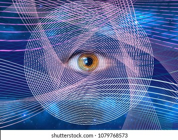 Abstract all-seeing eye. New world order. Eye of Providence. Horus eye Egypt. Alchemy, religion, spirituality, occultism. Conspiracy theory. Masonic symbol