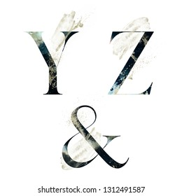 Abstract Alphabet Font Set - textured letters Y, Z and ampersand & composition with brush stroke. Unique collection for wedding invites decoration and many other concept ideas.