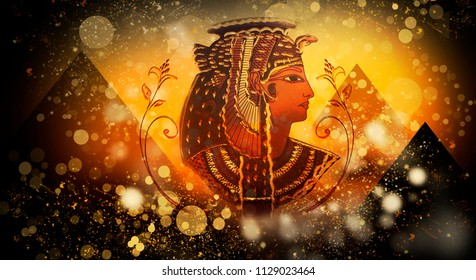 Abstract ancient Egyptian background, Cleopatra. Dark bokeh background.