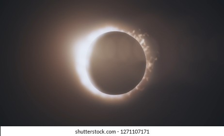 Abstract animation of eclipse of sun. Moon closes sun leaving ring of fire on black background. Animation of an astronomical phenomenon