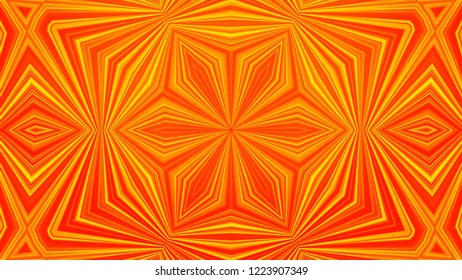 Abstract animation of movement of triangles in kaleidoscope. Yellow-orange color scheme. Meditative and hypnotic pattern of fractal cyclic animation