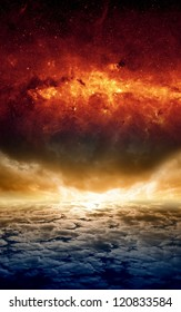 Abstract apocalyptic background - dramatic sunset, red galaxy, end of world. Elements of this image furnished by NASA-JPL-Caltech